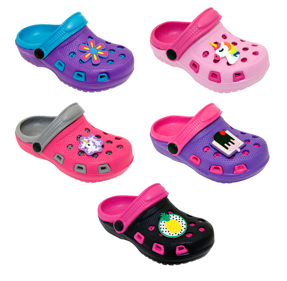 Girl's Two Tone CLOGS w/ Patch Adornment - Sizes 5-10