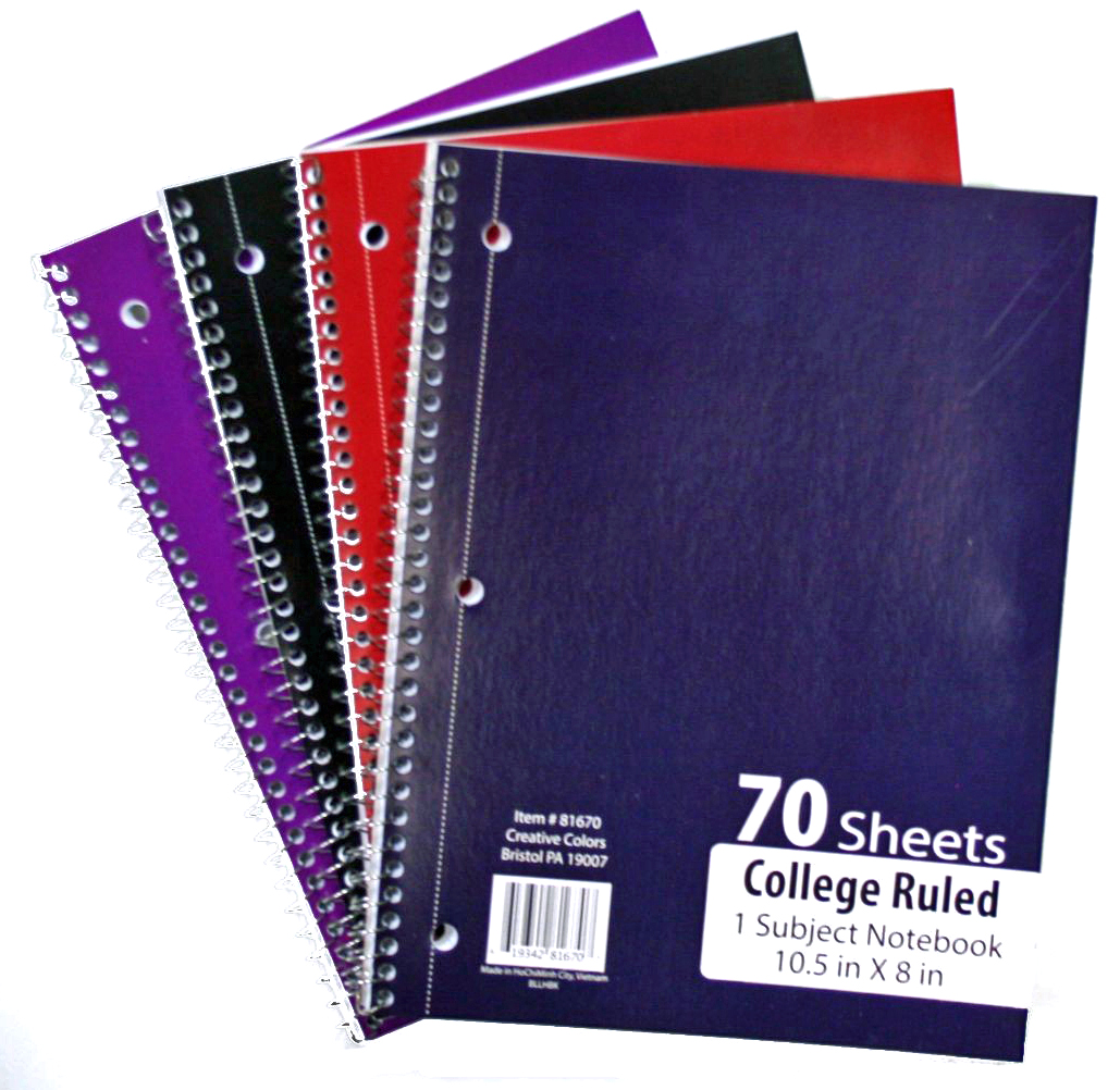 1-Subject College Ruled School NOTEBOOKs - 70 Pages