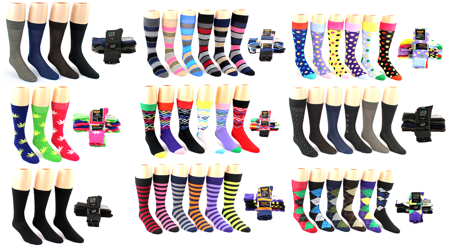 Men's Casual Crew DRESS Socks - Assorted Styles - Size 10-13