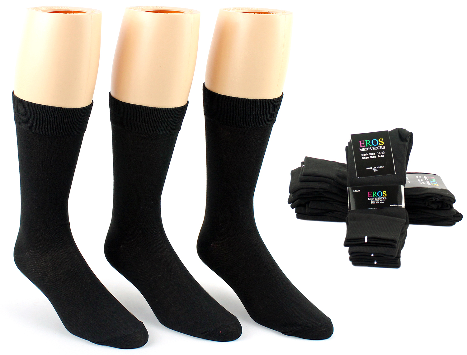 Men's Black Classic Crew DRESS Socks - Size 10-13