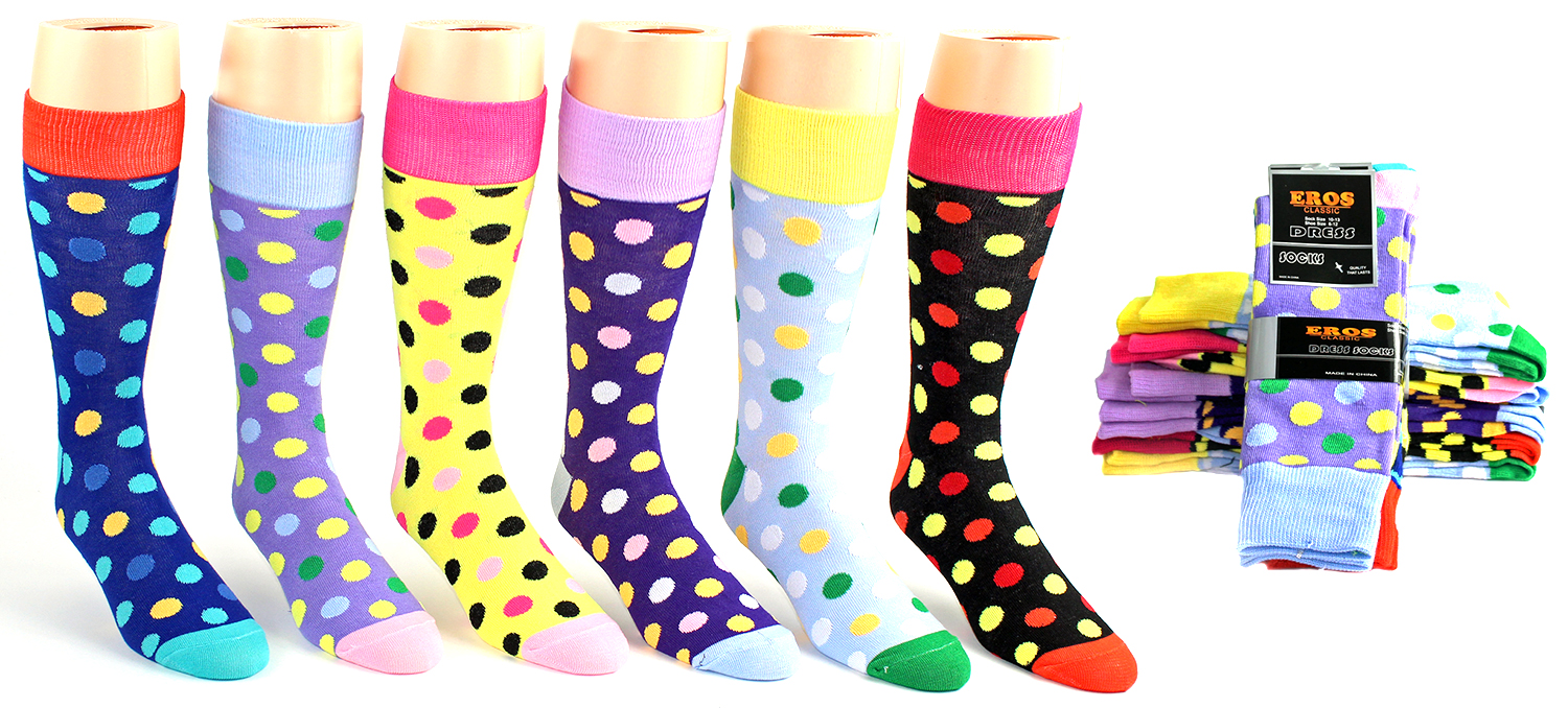 Men's Casual Crew DRESS Socks - Dot Print - Size 10-13
