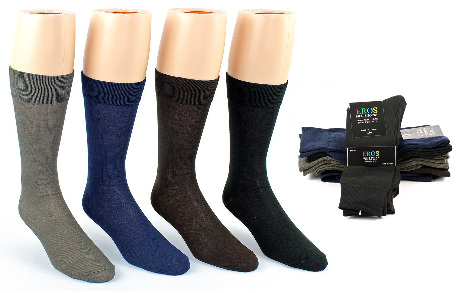 Men's Classic Crew DRESS Socks - Assorted Colors - Size 10-13