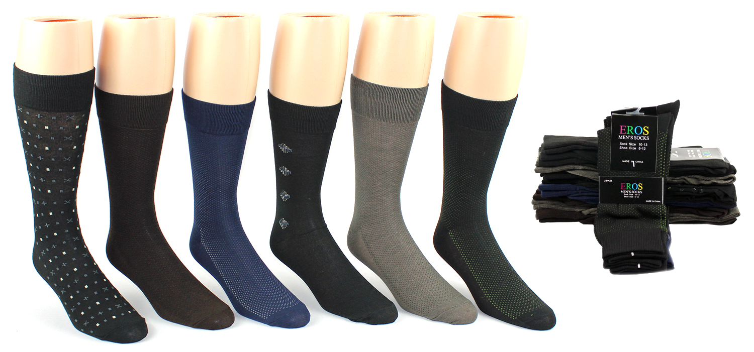Men?s Classic Crew DRESS Socks - Assorted Patterns - Size 10-13