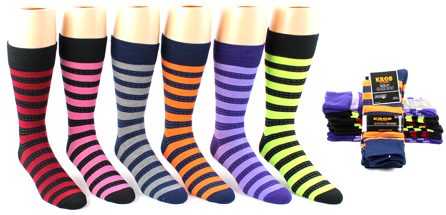 Men's Casual Crew DRESS Socks - Striped Print - Size 10-13