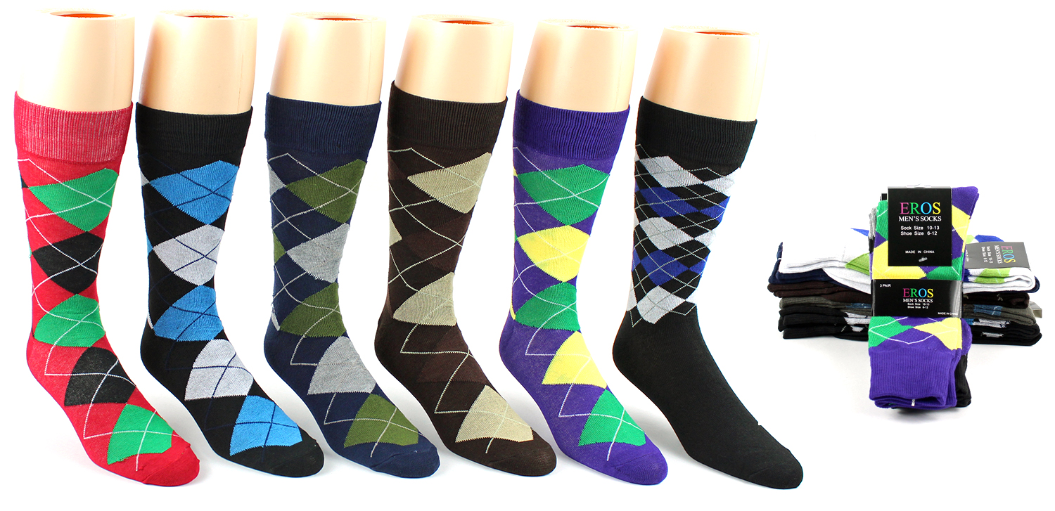 MenGÇÖs Casual Crew DRESS Socks - Argyle Print - Size 10-13
