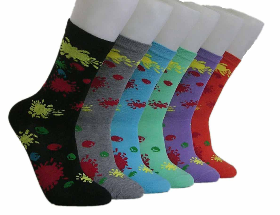 Women's Novelty Crew Socks - Splatter PAINT Print - Size 9-11