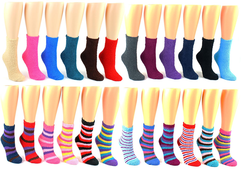 f7423060fc1 Women s Premium Fuzzy Crew SOCKS - Striped   Solid Colors - Size 9-11