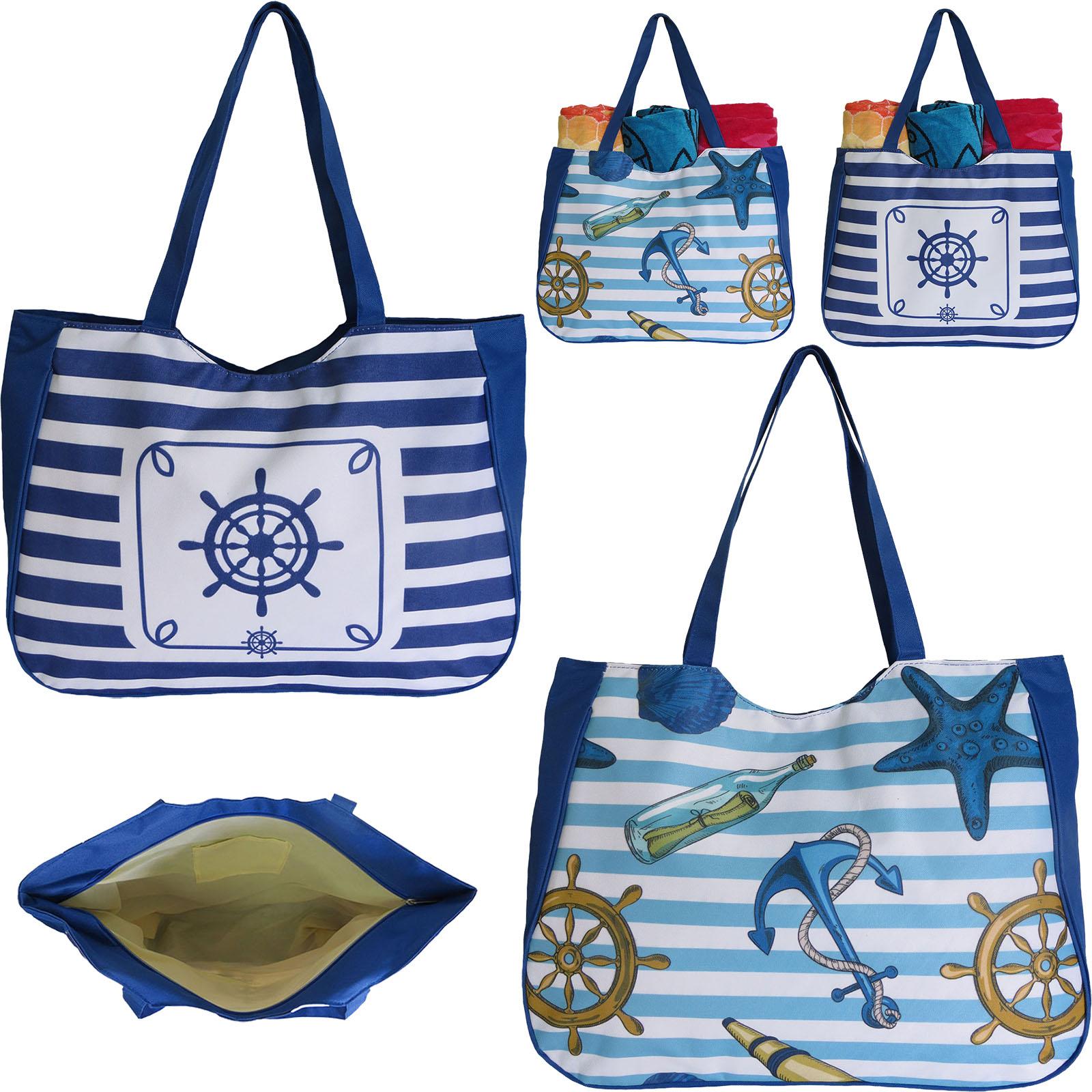 ''20'''' Durable Canvas Tote BEACH BAGs - Nautical Prints''