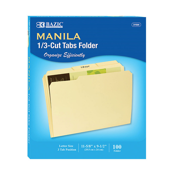 1/3 Cut Letter Size Manila File Folder (100/Box)