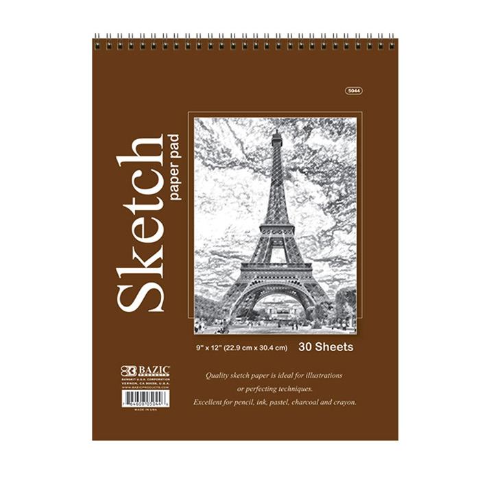 30 Ct. 9'' X 12'' Top Bound Spiral Premium Sketch Pad