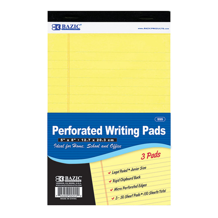 ''50 Ct. 5'''' X 8'''' Canary Jr. Perforated Writing Pad (3/Pack)''