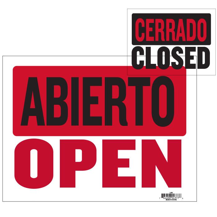 9'' X 12'' Abierto Sign w/ Cerrado Sign On Back
