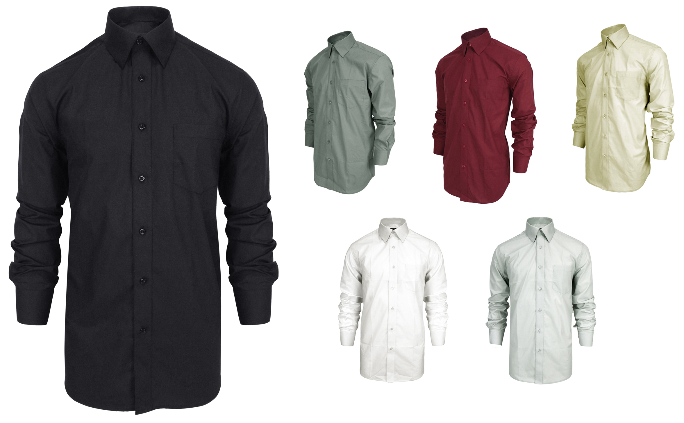 Men's Long Sleeve Button Down DRESS Shirts w/ Front Pocket - Solid Colors - Sizes Small-2X
