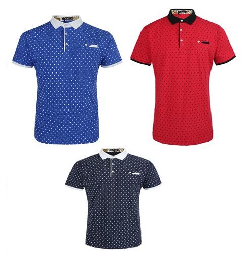 Men's Active Polo SHIRTs - Dot Prints - Sizes Small-2X
