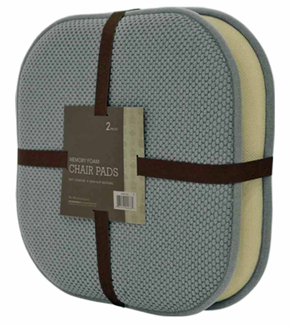 Memory Foam CHAIR Pads - 2 Packs - Grey