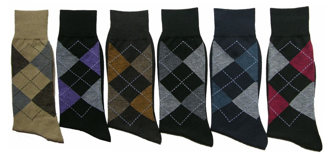 Men's Classic Crew DRESS Socks - Argyle Print - Size 10-13