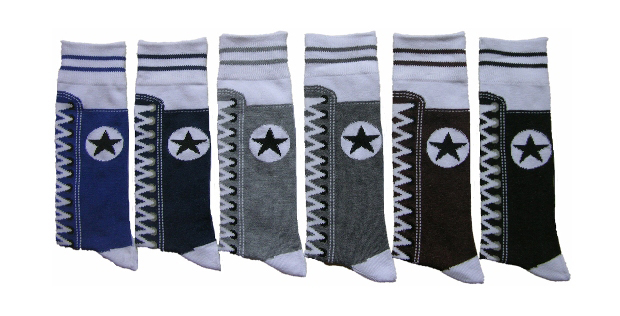 Men's Casual Crew DRESS Socks - Sneaker Print - Size 10-13