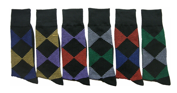 Men's Casual Crew DRESS Socks - Striped Argyle Print - Size 10-13
