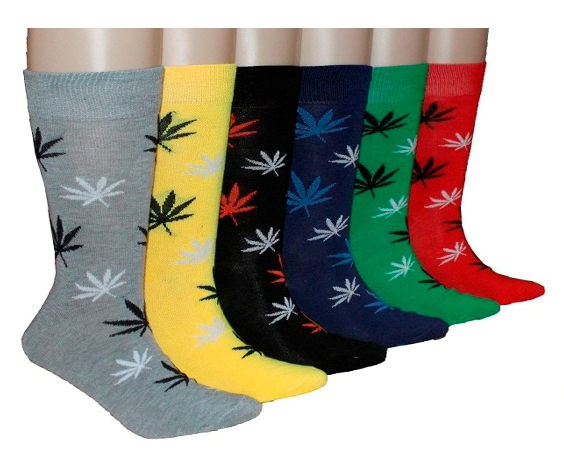 Men's Casual Crew DRESS Socks - Marijuana Leaf Print - Size 10-13