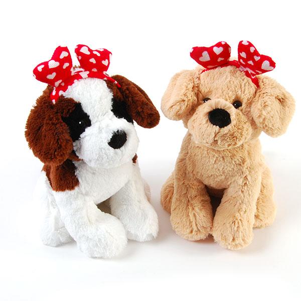 Valentines Day Plush Love Dogs w/ Heart HEADBANDs
