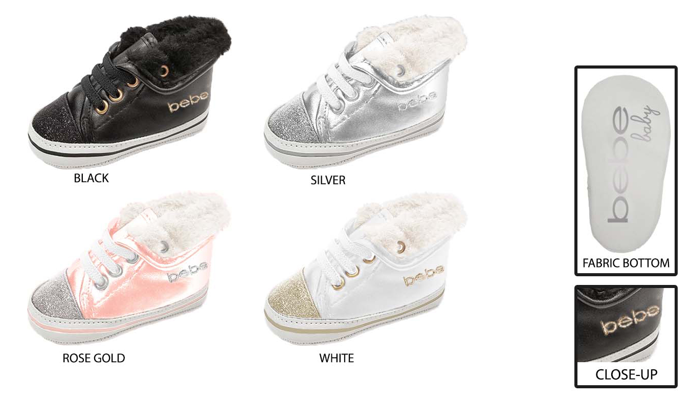 Infant Fold Over High Top SNEAKERS w/ Faux Fur Collar & Glitter Toe