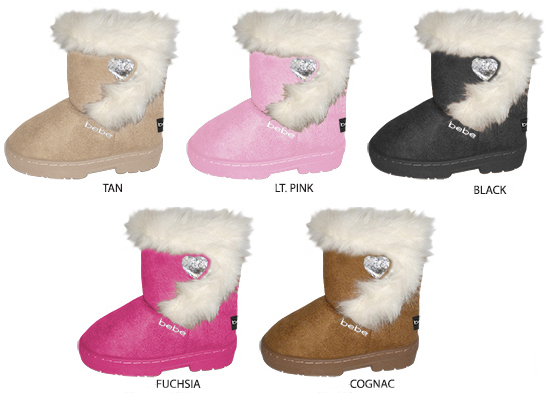 Toddler Girl's Winter BOOTS w/ Velcro Closure Faux Fur Trim Rhinestone Heart & Lurex Bebe Embroider