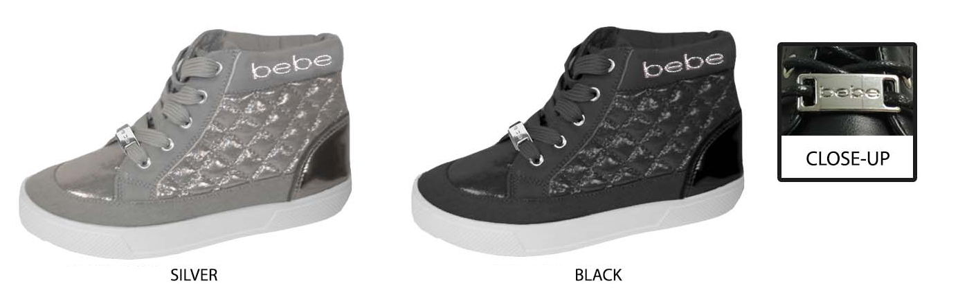 Girl's High Top SNEAKERS w/ Metallic Shimmery Quilting & Bebe Embroidery