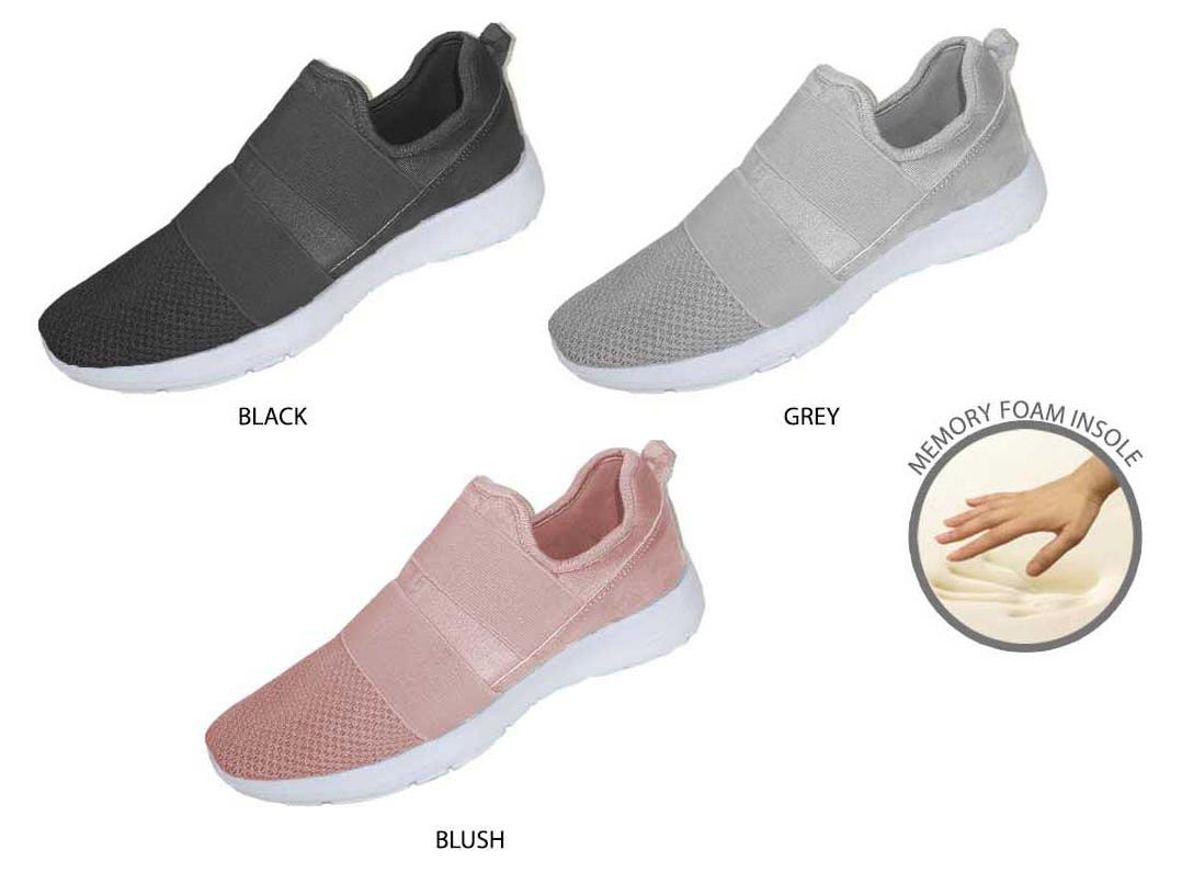 Women's Nylon & Mesh SNEAKERS w/ Elastic & Memory Foam Sock