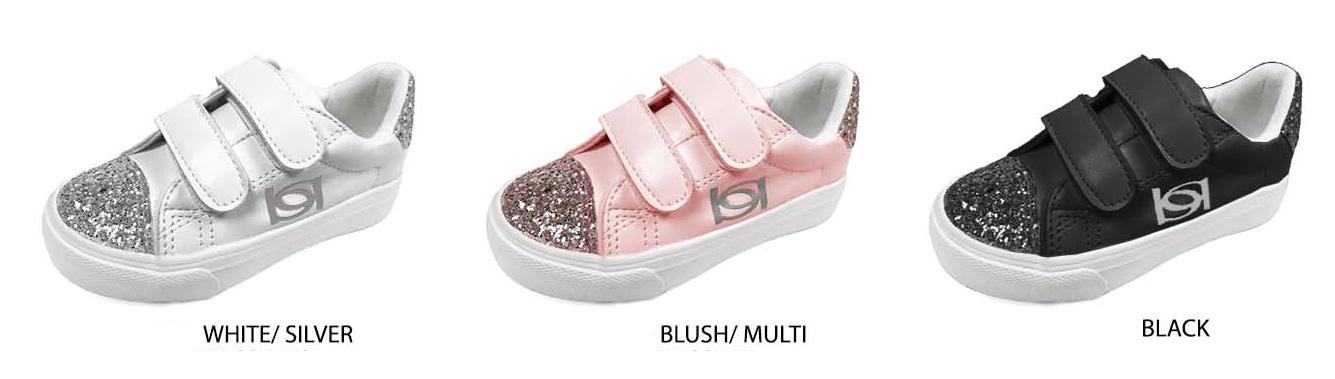 Toddler Girl's SNEAKERS w/ Velcro & Glitter Toe Cap