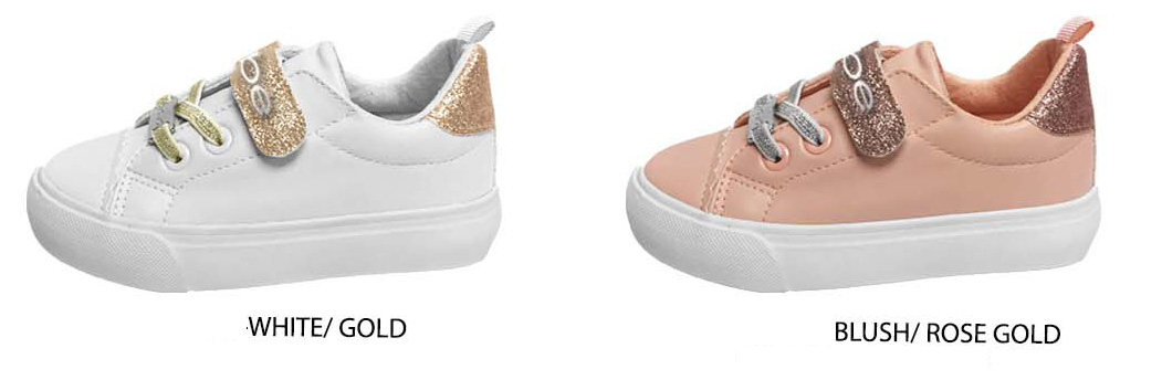 Toddler Girl's Low-Top SNEAKERS w/ Metallic Elastic Laces, Bebe Embrodiery & Glitter Strap