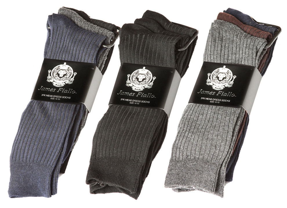Men's Designer DRESS Socks - Striped Prints - Size 10-13 - 3-Pair Packs
