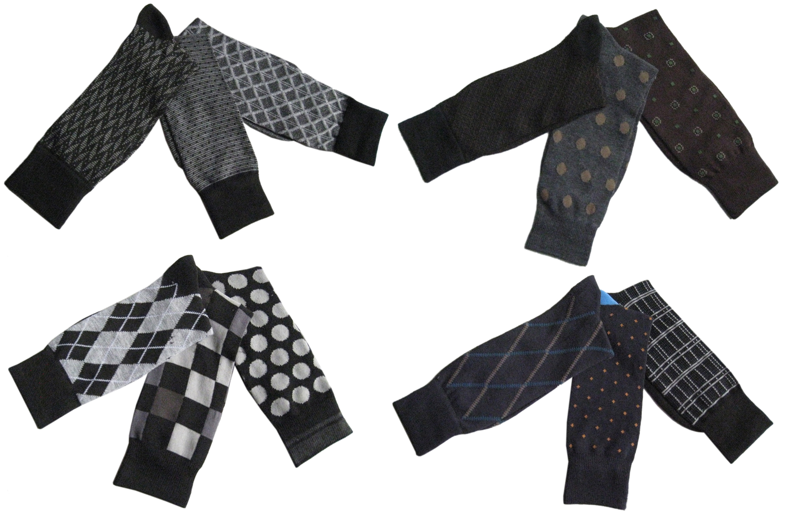 Men's Designer DRESS Socks - Assorted Prints - Size 10-13 - 3-Pair Packs
