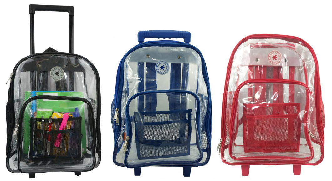 ''17'''' Deluxe Clear Rolling Backpacks''