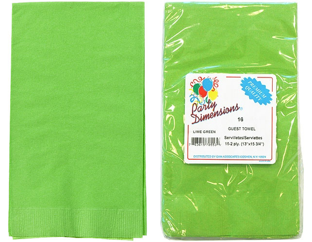 Lime Green Guest TOWELs 16-Packs - Party Dimensions