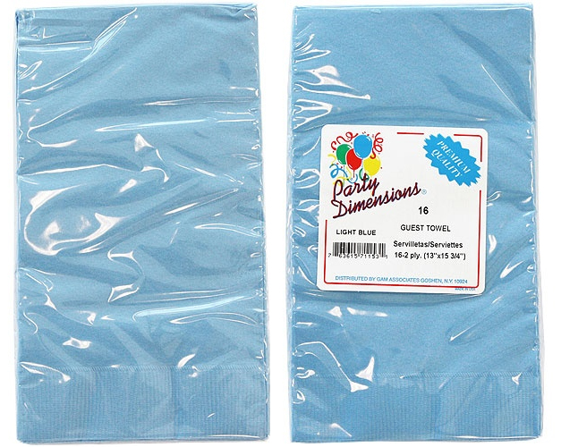 Light Blue Guest TOWELs/Napkins 16-Packs - Party Dimensions