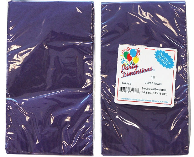 Purple Guest TOWELs/Napkins 16-Packs - Party Dimensions