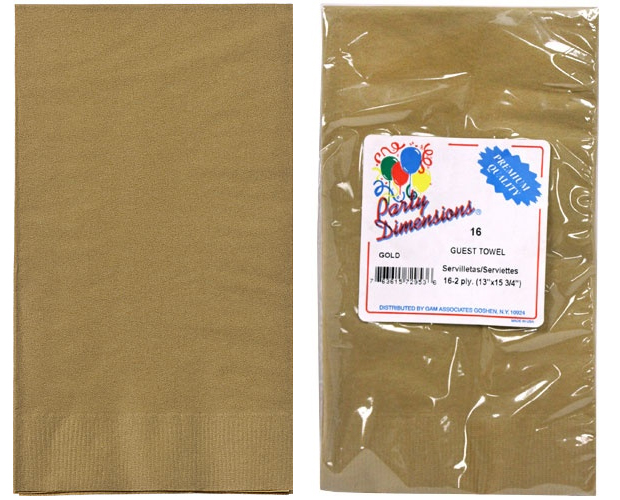 Gold Guest TOWELs/Napkins 16-Packs - Party Dimensions