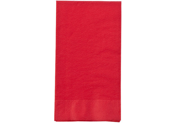 Red Paper Guest TOWEL Napkins by Party Dimensions - 8'' x 4.5'' - 16-Packs