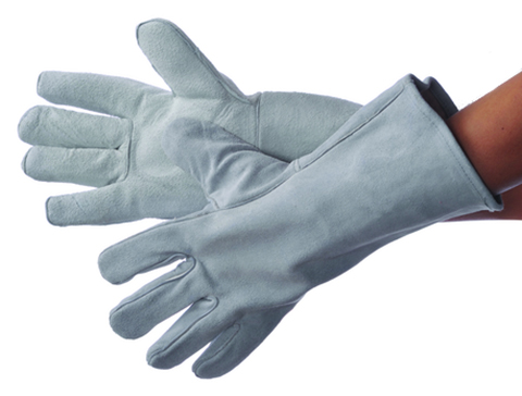 Sock Lined Grey Cow Split LEATHER Welding Gloves - Size: Large