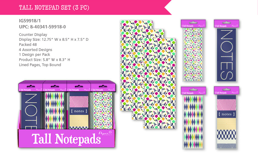 Tall (List) Notepads w/ Printed Covers - 3.5'' x 8.3'' - 3-Packs
