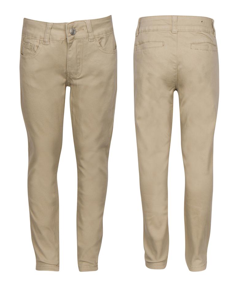 Little Girl's  Active Flex School UNIFORM Skinny Trousers - Khaki - Choose Your Sizes (1-13)