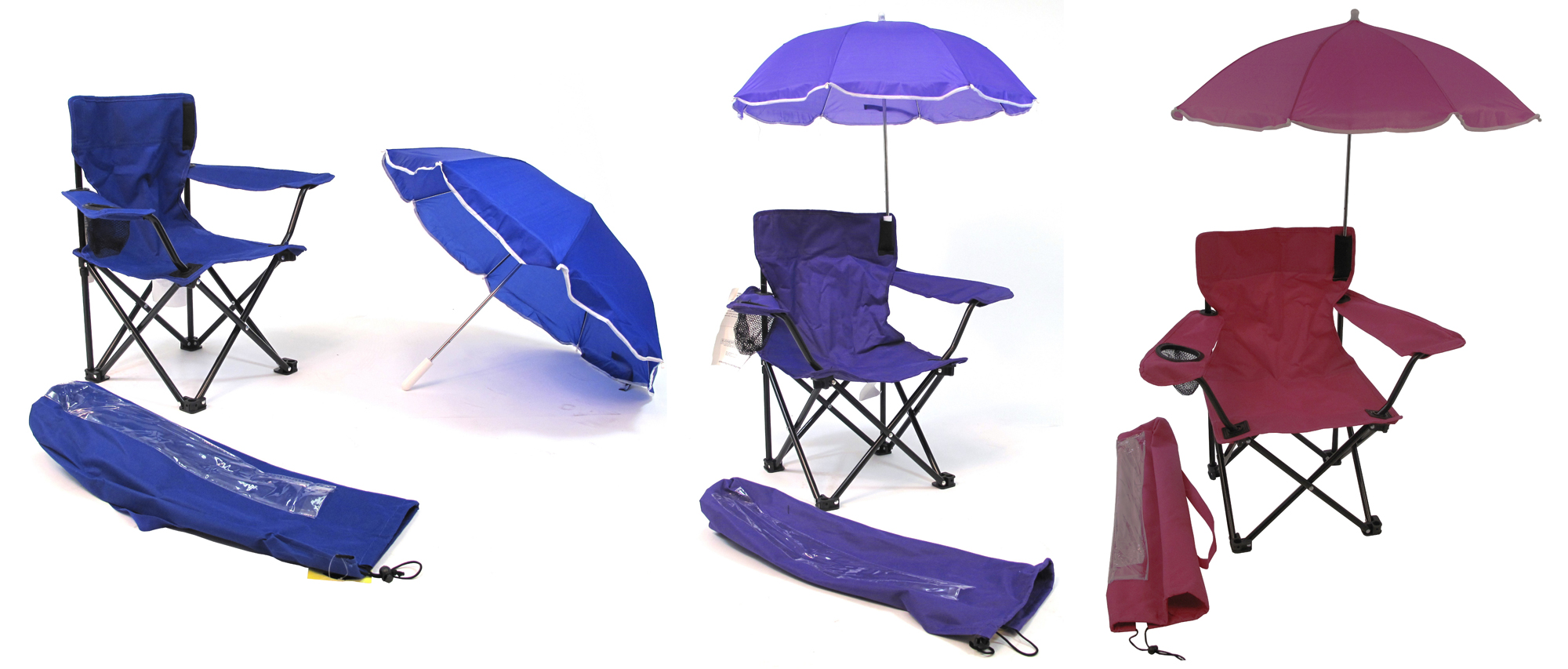 Beach Baby Kid's Camp CHAIRs w/ Carry Umbrella & Matching Tote Bags - Choose Your Color(s)