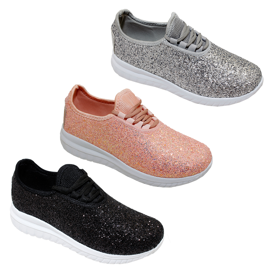 Women's Glitter Lace-Up Fashion SNEAKERS - Sizes 6-10